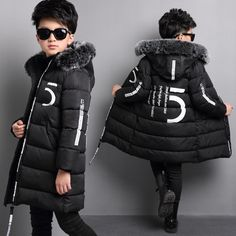 47.89$  Buy here - http://aialo.worlditems.win/all/product.php?id=32777784488 - Brand Hooded Fashion 5 Letters Printed Cotton Padded jacket Big Wool Collar Black Snowsuit Winter Warm Coat 5-16 Years