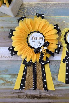 Sunflower Baby Shower Yellow Black Flower Corsage Pin Mommy To Be Daddy To Be Gender Reveal Baby Shower Bumble Bee & Sunflower Theme Baby Shower Yellow, Baby Shower Fun, Baby Shower Gender Reveal, Baby Shower Themes, Baby Shower Parties, Shower Ideas, Girl Shower, Baby Gender, Mommy To Bee
