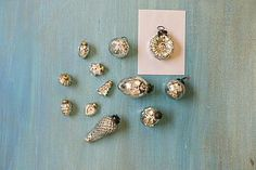 """MERCURY GLASS ORNAMENTS, SILVER, SET OF 12, 3"""" TO 6""""H"""