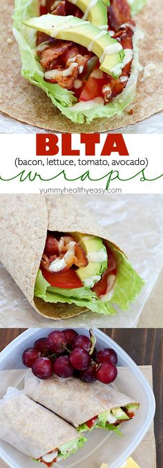 Best Ever BLTA Wrap _ Layer bacon, lettuce, slices of tomato, & avocado into a whole wheat wrap. Drizzle with a combo of Tessemae's mayo & Green Goddess dressing plus a little cracked pepper; roll up & devour. SO GOOD! #Wraps