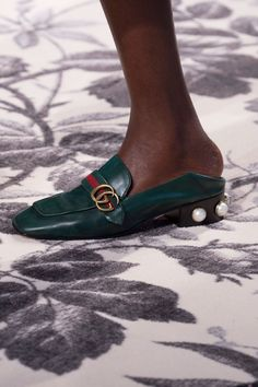 """TGIF, """"F"""" meaning """"flats."""" We've moved from the wear-with-everything white sneaker to the Vans-style slip-on to the fancy slide, which is like its predecessors but even easier because there aren't any laces or even a back. That doesn't mean they can't be fancy, though—check out the heel on that Gucci loafer.    - MarieClaire.com"""