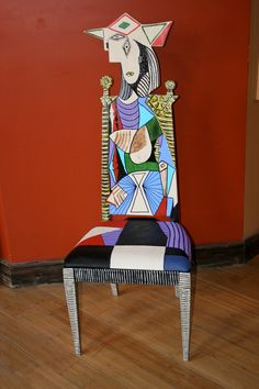 "Picasso ""Woman in Garden"" handpainted chair by Todd Fendos. $495 via Etsy. More examples can also be seen at www.ToddFendos.com. #Bohemiaart #Picasso #paintedfurniture #upcycledart"