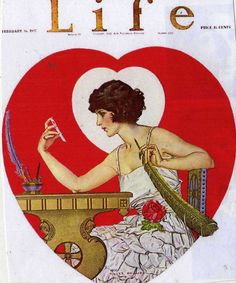 Life Magazine, Coles Phillips Cover for Valentine's Day; This is my most requested illustration for my decoupage boxes.