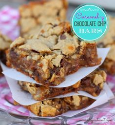 "These Caramel-y Chocolate Chip Cookie Bars are a piece of heaven, to put it simply! You know how Chocolate Chip Cookies are pretty much the best out there?  Can I get an ""Amen!"" to that?   I'm never not in the mood for one or ten of the deliciously wicked things.  They're just a go-to,..."