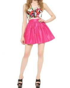 Candy Color Red Pleated Short Skirt with Side Zip
