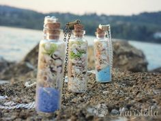 Beach pendant jewelryGlass bottle charm Glass por Maristella890
