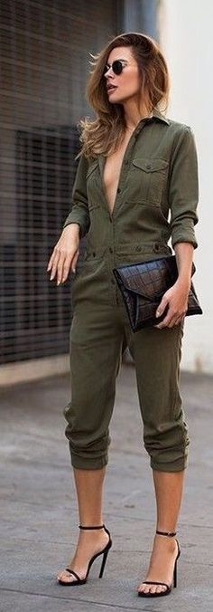 Olive Green Military Style Jumpsuit