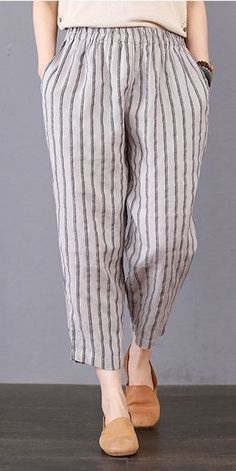 Vintage Striped Linen Casual Pants Women Loose Spring Trousers K25027 Outfits Casual, Casual Pants, Plad Outfits, Loose Pants Outfit, Trousers Women Outfit, Linen Dresses, Women's Dresses, Spring Dresses, Sewing Pants