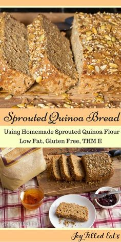 This easy spouted quinoa bread is completely homemade. It takes a few days to wait for the quinoa to sprout but after that it's a piece of cake. Or bread. Sprouted Quinoa Bread - Low Fat, Gluten Free, THM E via (Low Carb Brot Quinoa) Bread Machine Recipes Healthy, Thm Recipes, Gluten Free Recipes, Real Food Recipes, Cooking Recipes, Bread Recipes, Best Low Carb Bread Machine Recipe, Healthy Homemade Bread, Homemade Breads