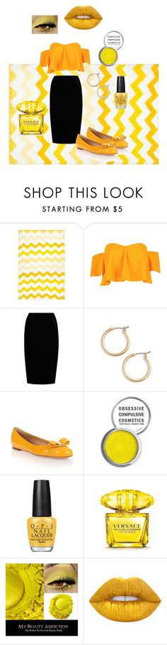 """""""Yellow Honey 🍯"""" by beck-bows-and-ribbons ❤ liked on Polyvore featuring nuLOOM, Boohoo, Jupe By Jackie, Nordstrom, Salvatore Ferragamo, Obsessive Compulsive Cosmetics, OPI, Versace and Lime Crime"""