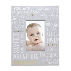 Little Blossoms by Pearhead Wordplay Keepsake Photo Frame, Gray Grey White Nursery, Happy Sing, Sunshine Love, Love Deeply, Baby Keepsake, Word Play, Dream Big, Grey And White, Singing