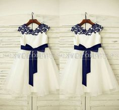 navy blue flower girl dresses with white sash - Google Search