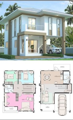 House Layout Plans, My House Plans, Bedroom House Plans, Small House Plans, House Layouts, House Floor Plans, Two Story House Design, 2 Storey House Design, Simple House Design