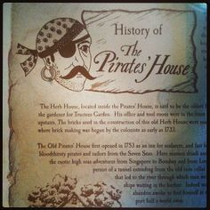 Pirates House history- downtown Savannah, GA