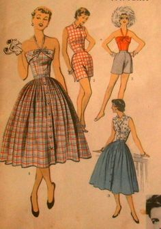 Vintage 1950s Advance Pattern #6766 Playsuit Halter Top Skirt Shorts DOROTHY COX
