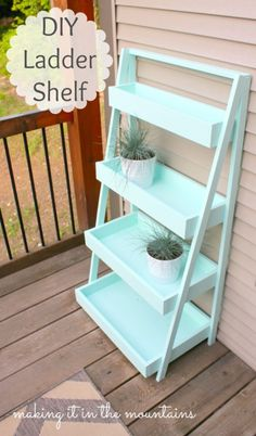 DIY Ladder Shelf @ making it in the mountains, make this with slats on the bottom of the shelves instead of solid. Easier for water & dirt to go through.