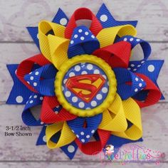 Superman Loopy Flower Hair Bow by PixiePretties on Etsy, $6.00