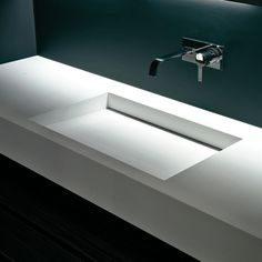 Slot XL, rectangular sink in Corian by Nevio Tellatin for Antonio Lupi #bathroom
