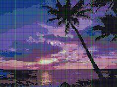Hama Beads perles hama sunset coucher de soleil pattern