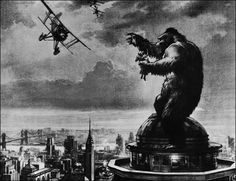 King Kong concept art   Kong was drawn by Willis O'Brien, the landscape was the work of Byron Crabbe, and the skies were added by Mario Larringa