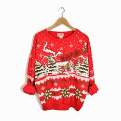 Vintage Ugly Christmas Sweater with Reindeer, Santa, Snowflakes and Puff Paint!  #vintage #uglychristmassweater at t#wigandspokevintage
