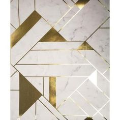 Complete with a gold geometric pattern, this marble inspired wallpaper embodies the word chic. Metallic inks effortlessly complement its off-white hue. Gulliver is an unpasted, vinyl wallpaper. Vinyl Wallpaper, Peelable Wallpaper, Wallpaper Samples, Pattern Wallpaper, Home Depot Wallpaper, Geometric Wallpaper For Walls, Modern Wallpaper, Floor Patterns, Tile Patterns