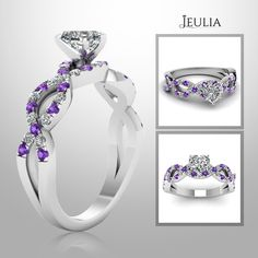 Heart Cut Created White Sapphire with Amethyst Sidestone Rhodium Plating Sterling Silver Engagement Ring  #jeulia