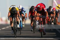 Alexander Kristoff of Norway and Team Katusha beats Mark Cavendish of Great Britain and Dimension Data to the finishline to win stage two of the 2016 Tour of Qatar from Qatar University to Qatar Univeristy on February 9, 2016 in Doha, Qatar. The stage also serves as a test event for the World Road Race Championships which will be held in Doha in October. #TOQ2016 #rm_112