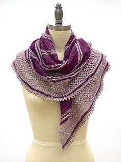 Clair de Lune Shawl by Pam Powers is a gorgeous two-color shawl knit in La Jolla sock!