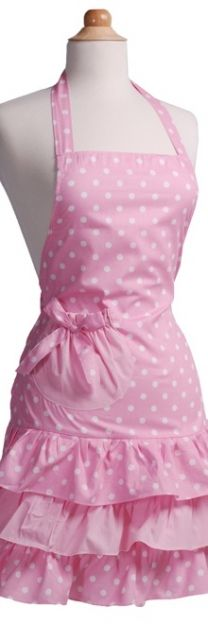 Adorable pink polka dot apron