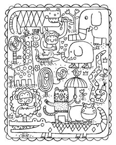 Coloring Page Animal Fun Instant Download by GeraldHawksley