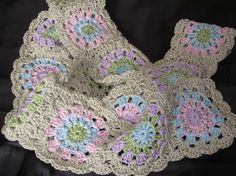 100 Cotton Crochet Granny Square Scarf by rpcreations on Etsy, $45.00