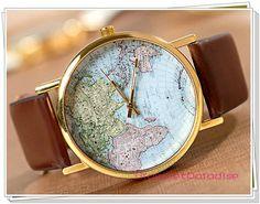 watch Promotions: World Map Watch Men Watch wristwatches Unisex Watches Women Watches Fashion Watches Christmas gift W-9.