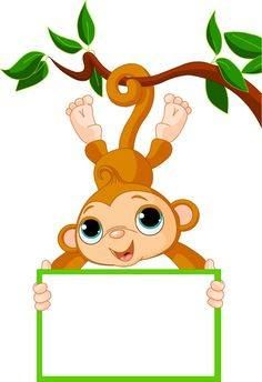 Illustration of Cute baby monkey on a tree holding blank sign vector art, clipart and stock vectors. Cartoon Monkey, Baby Cartoon, Cartoon Images, Cute Cartoon, Cartoon Picture, Cartoon Clip, Monkey Template, Cute Baby Monkey, Monkey Pictures