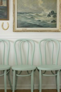 nevermind that the chairs are mint. The painting of the sea is blue and that's what counts. The chairs are very nice though and could be called aqua I think. Leather Dining Room Chairs, Bentwood Chairs, Upholstered Chairs, Cafe Chairs, Kitchen Chairs, Desk Chairs, Office Chairs, Lounge Chairs, Painted Chairs