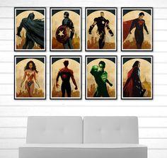 Spiderman, Batman, Thor, Lantern, America, Superman, IronMan, Wonder Poster Set #Minimalism