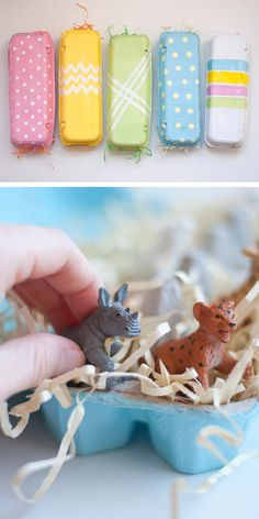 DIY: Easy Painted Egg Cartons. Fill them with little toys, decorated eggs, or candies.