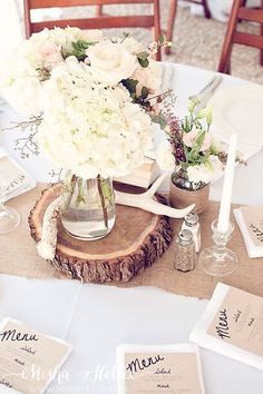 fall wedding reception decor with alter and hydrangeas