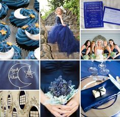 Navy blue and silver wedding inspiration board. Love the flower girl dress!