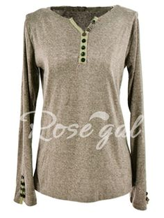 Casual V-Neck Long Sleeve Button Design Women's T-Shirt