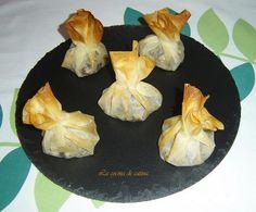La cocina de Catina: Saquitos de pasta filo rellenos de manzana y morcilla