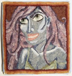 Some more fiberific goodness!!  Hooked rugs I designed and made, including a self portrait that is mounted on hanging framework.  All made from felted wool cut into strips and hooked through monks cloth freestyle!