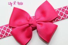Fuchsia Bow and Lattice by LilyNRoseHeadbands, Baby Headbands, Bows, Bikinis, Stuff To Buy, Fashion, Arches, Moda, Bowties, Fashion Styles