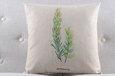 Rustic Green Plant Herbs - Rosemary Throw Pillow Cover