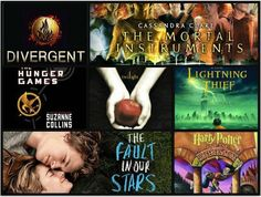 amazing books, divergent, the hunger games, the mortal instruments, twilight, percy jackson and the fault in our stars