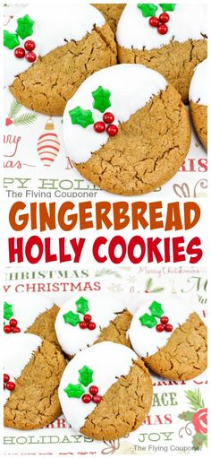 Gingerbread Holly Cookies. Easy and soft Christmas cookies. Dessert recipe with spices for the Holidays. The Flying Couponer.