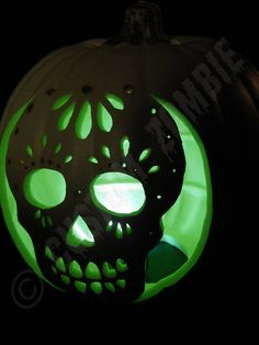 Sugar skull pumpkin carving pattern.
