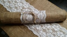 Items similar to Burlap and Lace Table Runner, 14 inches wide Wedding, Party, Home Decor, Custom Wedding Decor Vintage Rustic Look on Etsy Lace Runner, Burlap Table Runners, Aisle Runners, Diy Wedding, Rustic Wedding, Wedding Ideas, Lace Wedding, Wedding List, Wedding Favors
