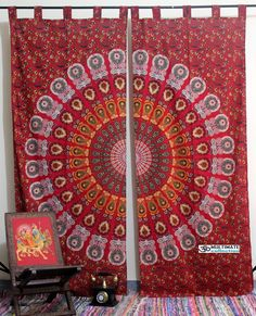 Mandala Window covers Shop this trippy curtain at affordable cheap price. This gorgeous curtain can be ued as window cutain, door curtain or wall hanging for cool home decor. Tapestry Curtains, Shabby Chic Curtains, Yellow Curtains, Drop Cloth Curtains, Vintage Curtains, Burlap Curtains, Floral Curtains, Curtains Living, Colorful Curtains