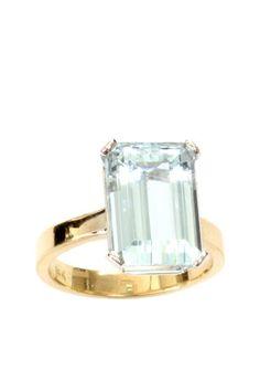 Two-Tone Emerald Cut Pastel Blue Aquamarine Ring